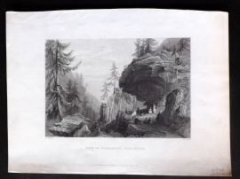 Bartlett Switzerland C1838 Antique Print. Rock of Balmarussa, Tete Noire